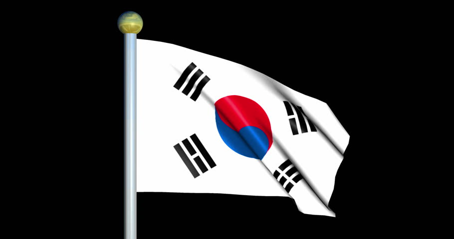 Large Looping Animated Flag of Republic of Korea