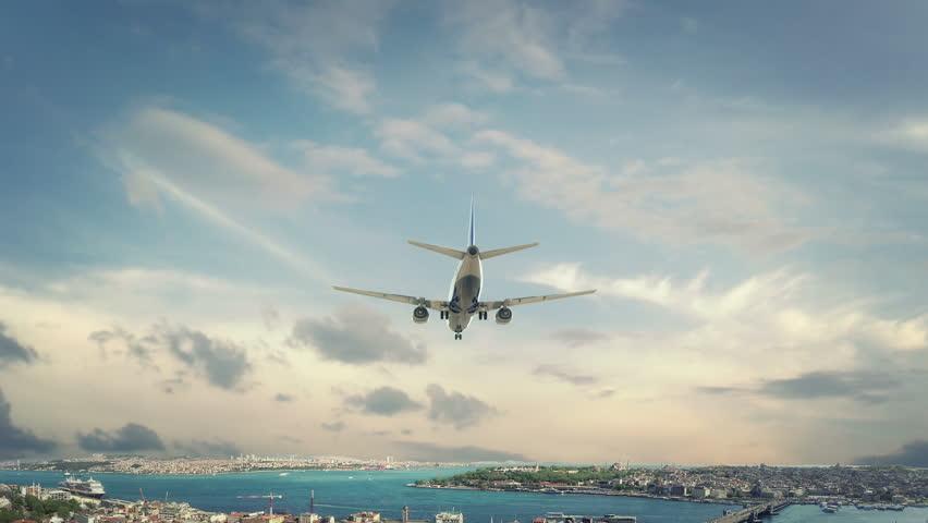 Airplane Landing Istanbul Turkey