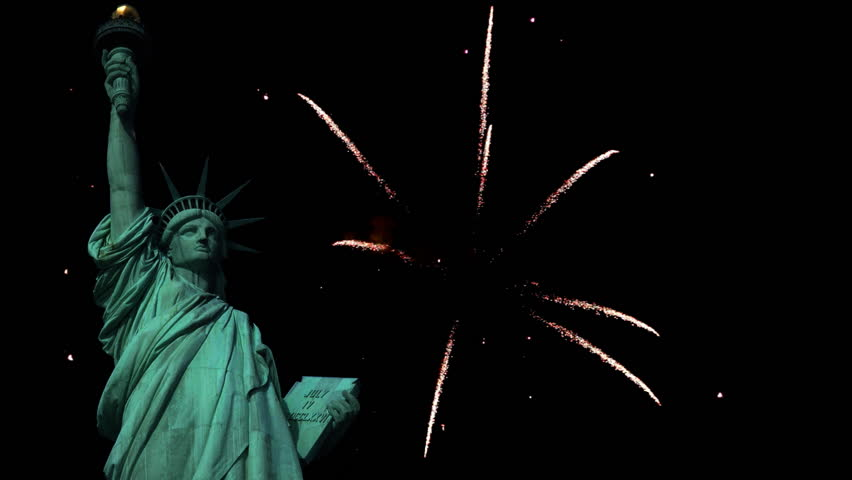 Statue of Liberty with fireworks in the background. | Shutterstock HD Video #2571485