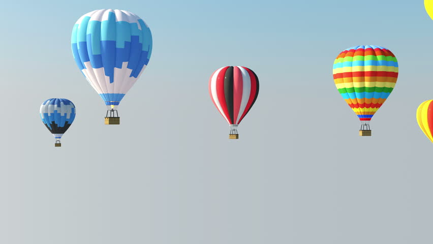 4K Animation of Group of Hot Air Balloons in the Air with Alpha Matte