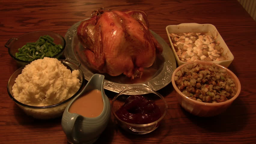 Thanksgiving dinner on a mahogany table