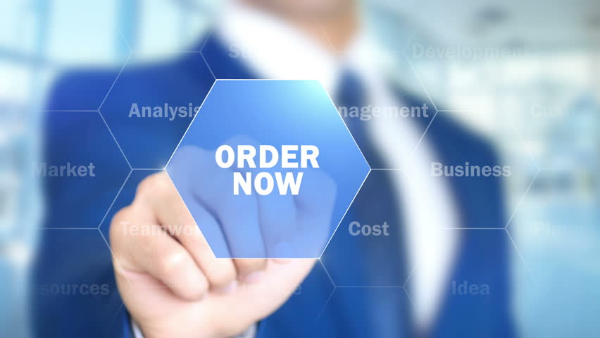 Order Now, Businessman working on holographic interface, Motion Graphics