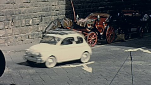 FLORENCE, ITALY - 1958: traffic in the street  Florence, Italy