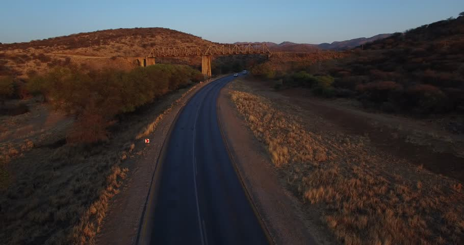 Aerial Footage Of Highway In A Canyon. Hot And Humid Loan Road ...