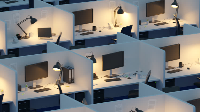 high angle view of cubicles with chairs and computers in modern office hd stock footage