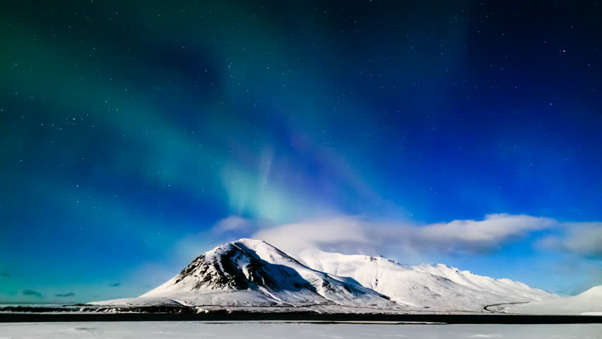 4K Time lapse Aurora Borealis (Northern Lights) in full moon night, Iceland  | Shutterstock HD Video #25822559
