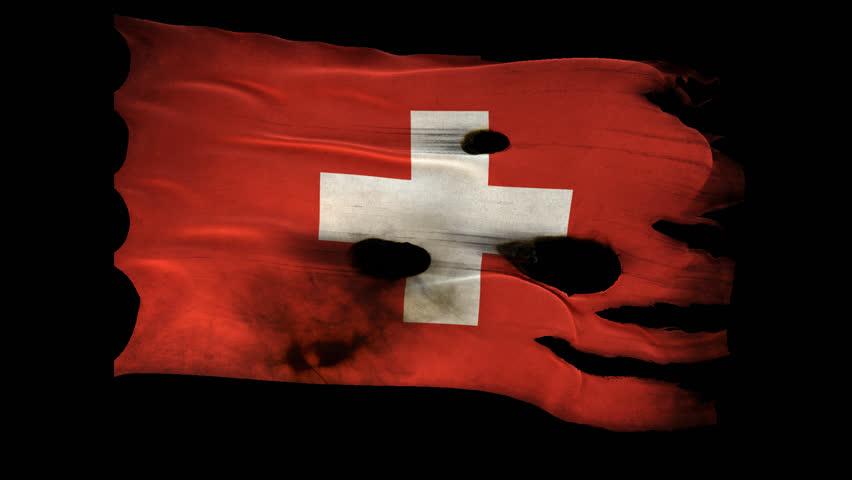 Switzerland,Swiss Confederation,Bern,CH, Europe,bullet perforated, burned, grunge standard flag waving on a wind with alpha loop seamless luma matte green screen
