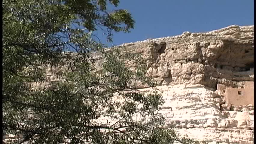 "A slow pan left to right across the famous ""Montezuma's Castle"" on the national monument of the same name in central Arizona"