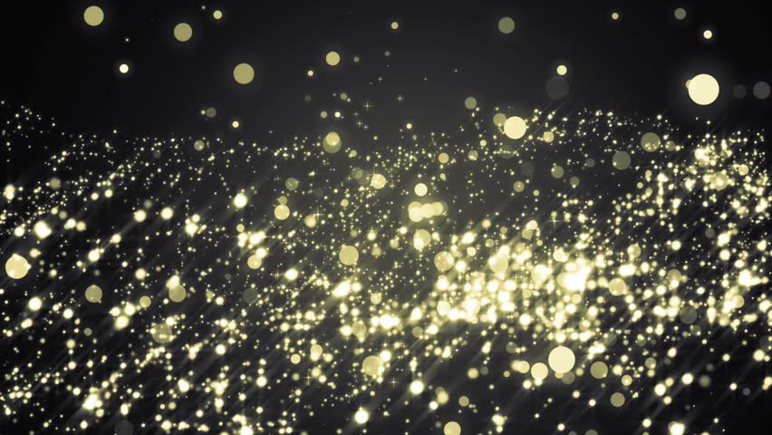 Lights gold bokeh background. Elegant gold abstract with circles and stars. Christmas animated background. VJ Seamless loop.