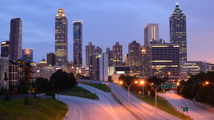 Downtown Atlanta Georgia Skyline From Above Freedom Parkway