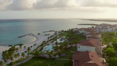 Aerial view houses and streets. Dron. Cap Cana of Dominican Republic.