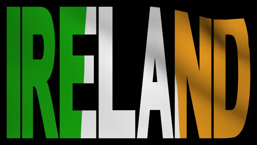 Ireland text with fluttering flag animation