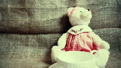 Vintage bear with a cup. Panoramic view.