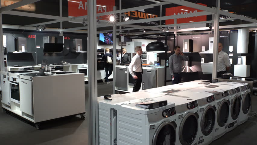 HELSINKI, FINLAND - APRIL 07, 2017: Washing machines, dryer and other domestic appliance equipment in the store AEG. Annual Fairs Own Cabin, Own, Home at the Expocenter of Messukeskus. | Shutterstock HD Video #25895357