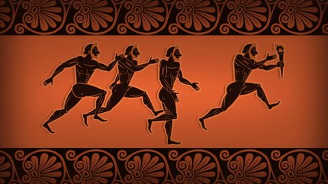 Ancient Greek Runners with Olympic Flame Animation