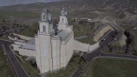 Aerial LDS Mormon Manti Utah Temple- Flat Color Profile for Color Grading