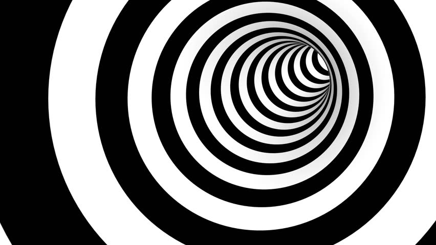 Animated hypnotic tunnel with white and black stripes. Seamless loop. 4K, UHD, Ultra HD resolution. More color options available - check my portfolio.
