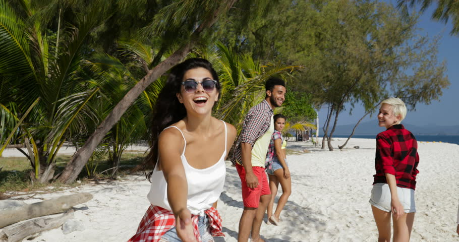 Young Girl Welcome You To Run With Happy People On Beach, Mix Race Men And Women Group Tourists On Sea Holiday Slow Motion 60 | Shutterstock HD Video #25929833