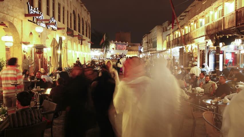 DOHA, QATAR - CIRCA MAY 2011: the restored Souq Waqif with mud rendered shops and exposed timber beams