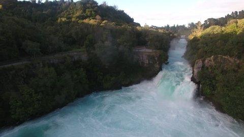 Aerial view of Huka Falls on the Waikato River, Taupo, New Zealand