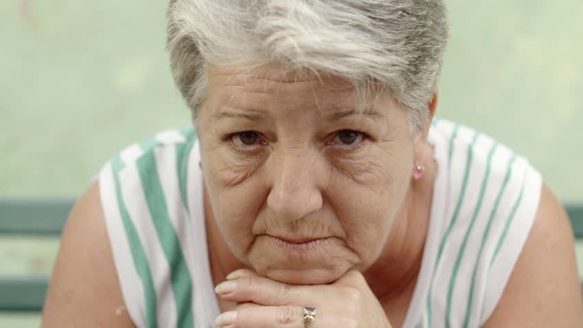 Old people and feelings, portrait of worried old woman with white hair