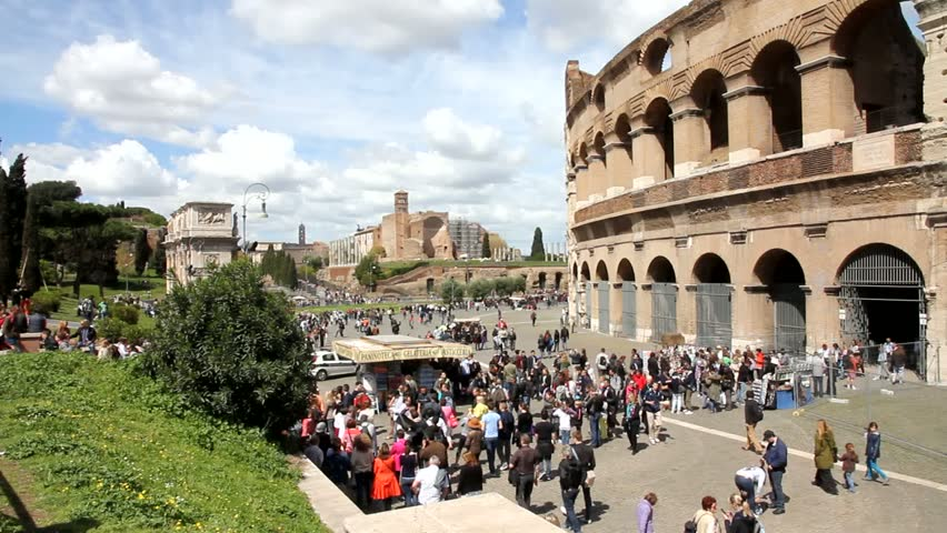 ROME - APRIL 9: Tourists visit the Colosseum on April 9, 2012 in Rome, Italy. Rome is 14th most visited city in the world (5.6m international arrivals in 2010).