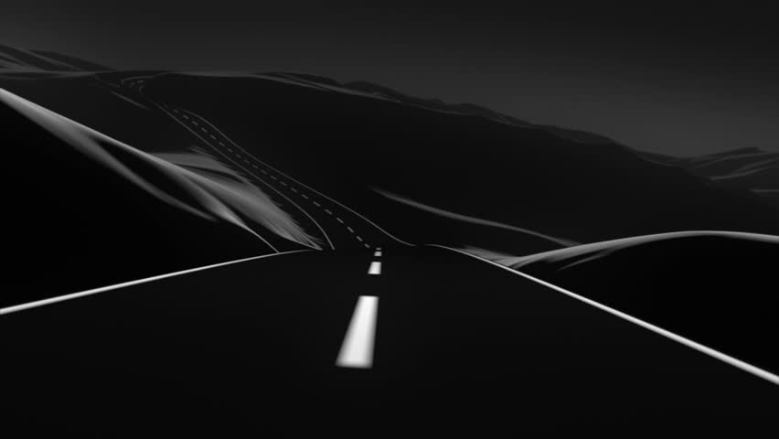 Go on an abstract road trip through the mountains. It has a kind of vector art look, and a slight dose of depth of field and motion blur for a touch of realism. 3D animation. Black and white, sunset.