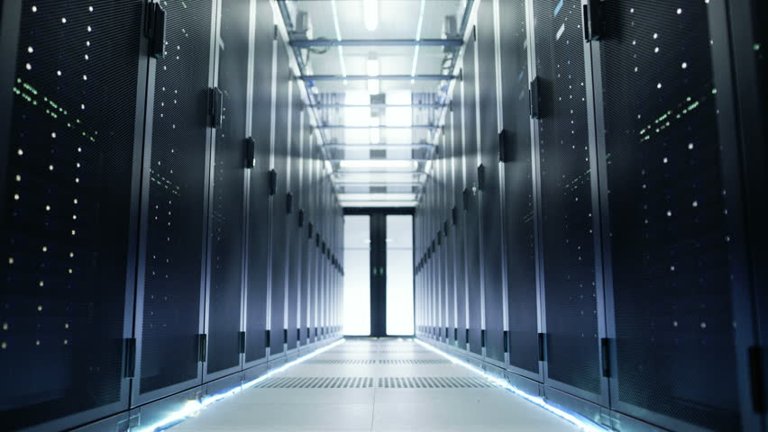Camera Moves Through Big Working Data Center with Server Racks and Glass Ceiling. Shot on RED EPIC-W 8K Helium Cinema Camera. | Shutterstock HD Video #26008646