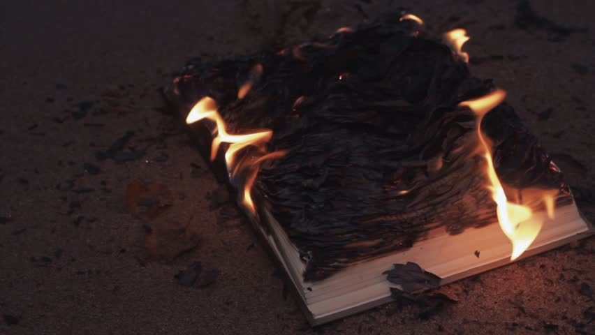 Burning book on the sand at coast