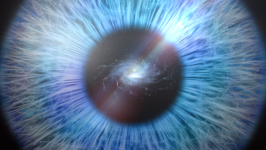 Galaxy of stars as the pupil of an eye.