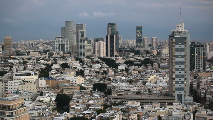 Tel Aviv, elevated city skyline view towards the commercial and business centre | Shutterstock HD Video #2603726