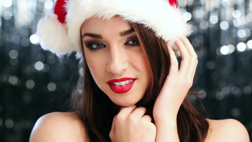 Sexy Woman Wearing Santa Hat Stock Footage Video 100 Royalty-Free 2604743 -8324