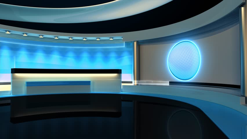 Tv Studio News Studio Studio Loop Earth Globe The