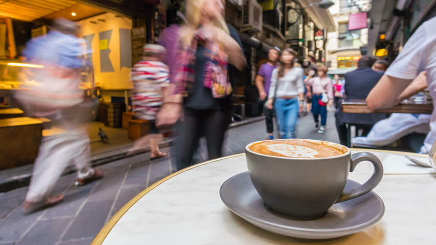 Melbourne, Australia - Apr 20, 2017: 4k timelapse video of enjoying coffee in a laneway cafe in Melbourne.