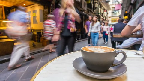 Melbourne, Australia - Apr 20, 2017: 4k timelapse video of enjoying coffee in a laneway cafe in Melbourne.