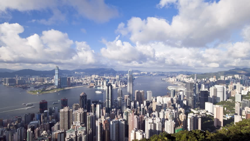 Business district with Bank of China Tower, 2 International Finance Centre and Victoria Harbour | Shutterstock HD Video #2611184