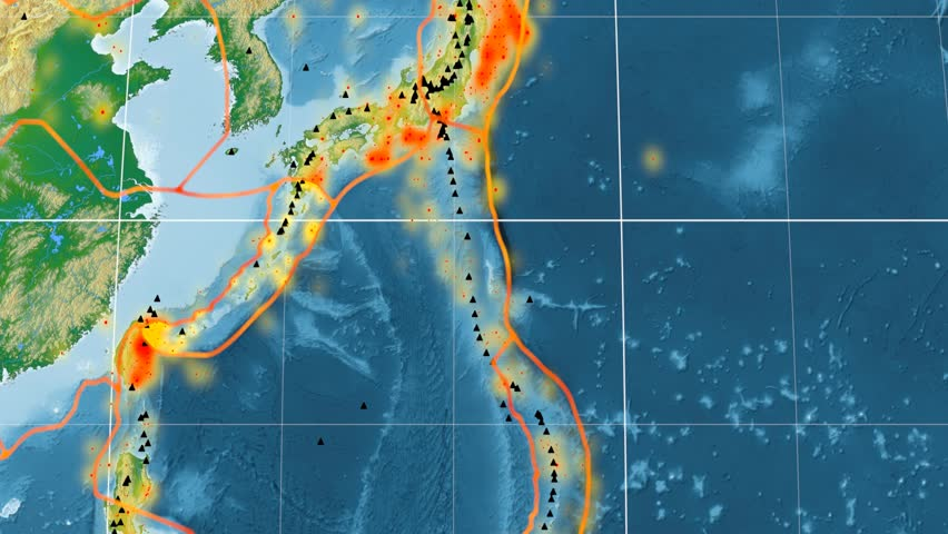 Okinawa tectonic plate featured & animated against the global physical map in the Kavrayskiy VII projection. Tectonic plates borders (Peter Bird's division), earthquakes, volcanoes