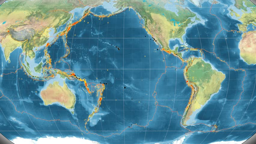 Pacific Tectonic Plate Featured Animated Against The Global - Global topographic map