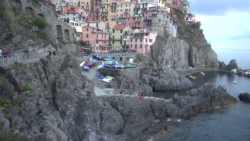Manarola,Cinque Terre, Italy - July:  Manarola is a Fishing village. Manarola is one of the famous five UNESCO protected picturesque towns in the Cinque Terre.50 fps, real time,  | Shutterstock HD Video #26139293