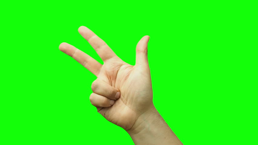 Male hand counting one to five isolated green screen  | Shutterstock HD Video #26191673