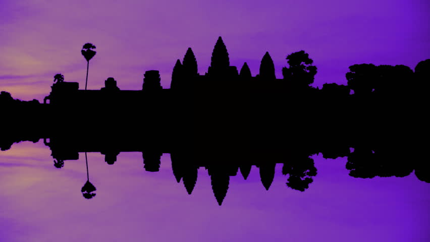 Timelapse of sunrise at Angkor Wat temple in Cambodia duotone