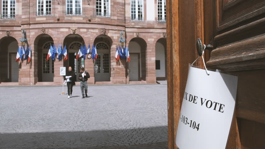 Strasbourg France Apr   French Couple Exits Bureau De Vote Decorated
