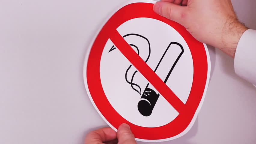 No Smoking Sign Installation Of Stock Footage Video 100 Royalty Free 26234393 Shutterstock