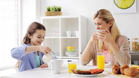 food, healthy eating, family and people concept - happy mother and daughter having breakfast at home kitchen