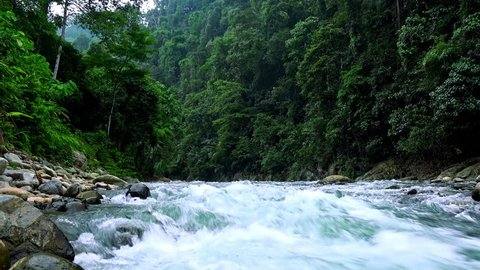 Stony bed of beautiful aquamarine mountain river running in dense jungle on sunny day. Fast foamy current in forest. View from water. Video with sound of stream gurgling. North Sumatra, Indonesia.