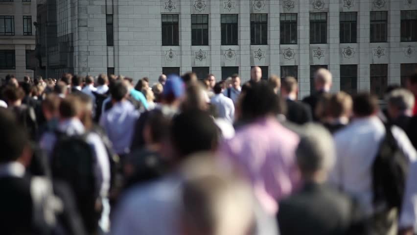 Crowd of pedestrian commuters on London Bridge 04