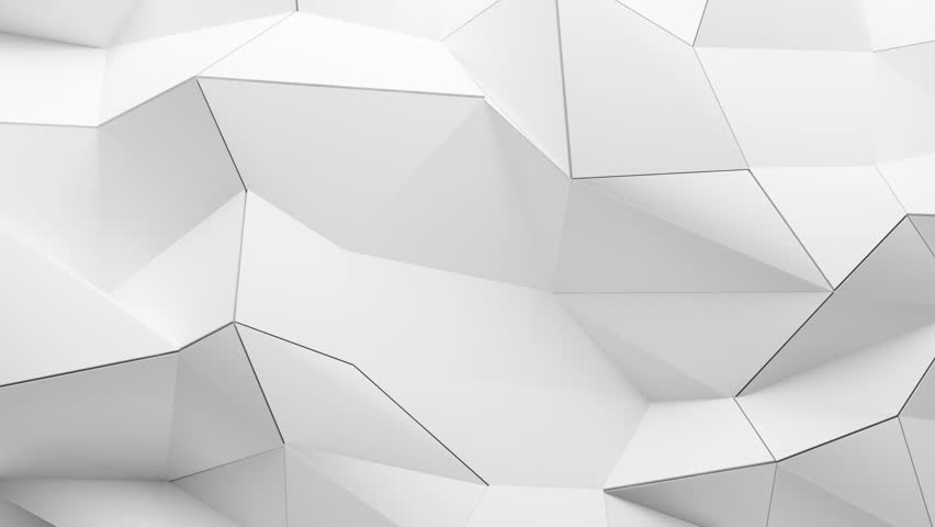 Abstract wall of planes moving in organic way. The movement is perfectly looped. Low poly seamless background. White polygon background.