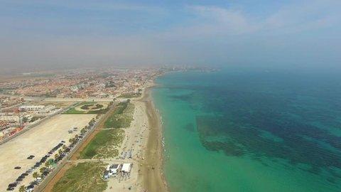 The beautiful beaches of Spain, coast Costa Blanca, Spain from height of bird's flight