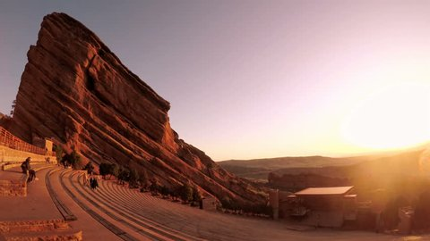 Denver, Colorado, USA-April 14, 2017.  POV point of view - Sunrise at the Red Rocks Amphitheatr.