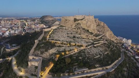 Alicante, Spain. Aerial view on the city against the sea with a view of the mountain and fortress
